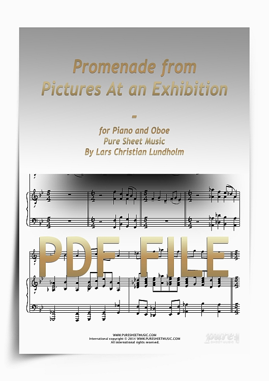 Thumbnail Promenade from Pictures At an Exhibition for Piano and Oboe (PDF file), Pure Sheet Music arranged by Lars Christian Lundholm