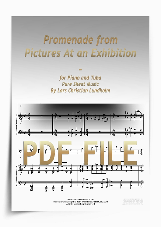 Thumbnail Promenade from Pictures At an Exhibition for Piano and Tuba (PDF file), Pure Sheet Music arranged by Lars Christian Lundholm