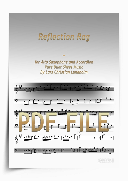 Thumbnail Reflection Rag for Alto Saxophone and Accordion (PDF file), Pure Sheet Music arranged by Lars Christian Lundholm