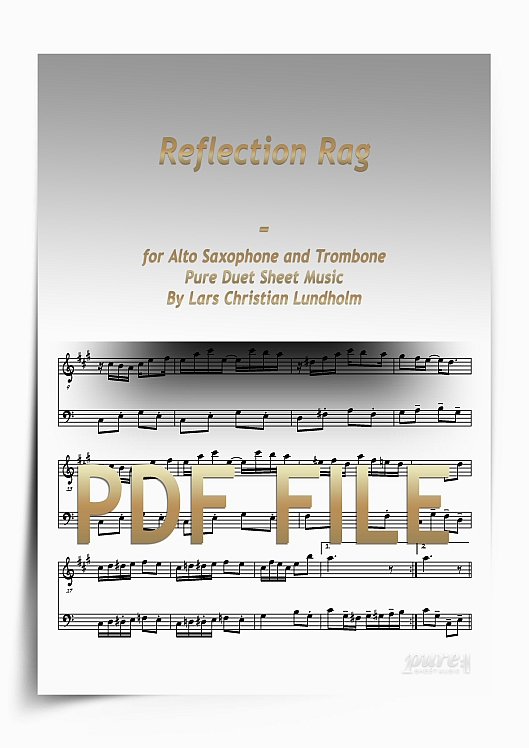 Thumbnail Reflection Rag for Alto Saxophone and Trombone (PDF file), Pure Sheet Music arranged by Lars Christian Lundholm