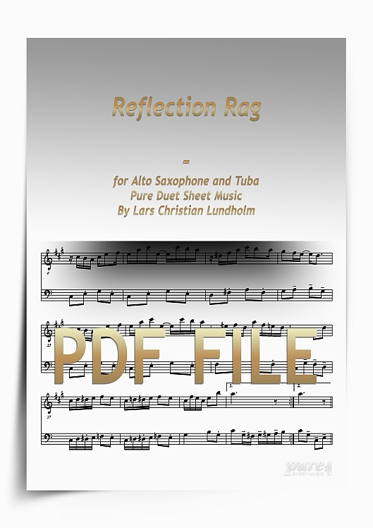 Thumbnail Reflection Rag for Alto Saxophone and Tuba (PDF file), Pure Sheet Music arranged by Lars Christian Lundholm