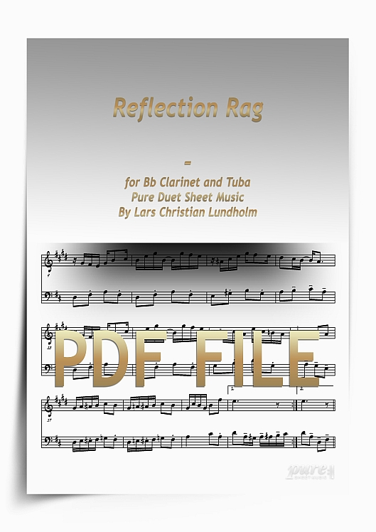Thumbnail Reflection Rag for Bb Clarinet and Tuba (PDF file), Pure Sheet Music arranged by Lars Christian Lundholm
