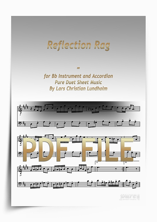 Thumbnail Reflection Rag for Bb Instrument and Accordion (PDF file), Pure Sheet Music arranged by Lars Christian Lundholm