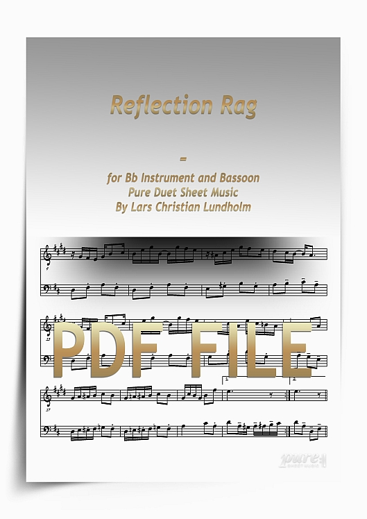Thumbnail Reflection Rag for Bb Instrument and Bassoon (PDF file), Pure Sheet Music arranged by Lars Christian Lundholm