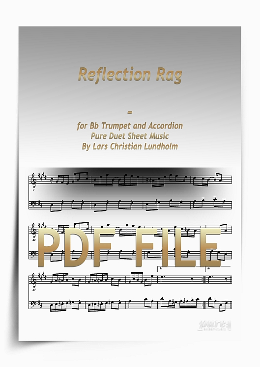 Thumbnail Reflection Rag for Bb Trumpet and Accordion (PDF file), Pure Sheet Music arranged by Lars Christian Lundholm