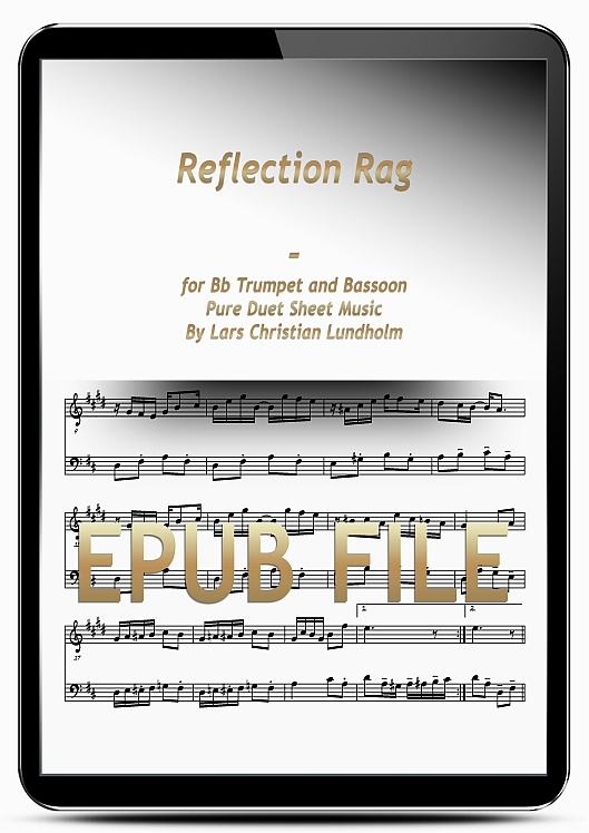 Thumbnail Reflection Rag for Bb Trumpet and Bassoon (EPUB file), Pure Sheet Music as Ebook arranged by Lars Christian Lundholm