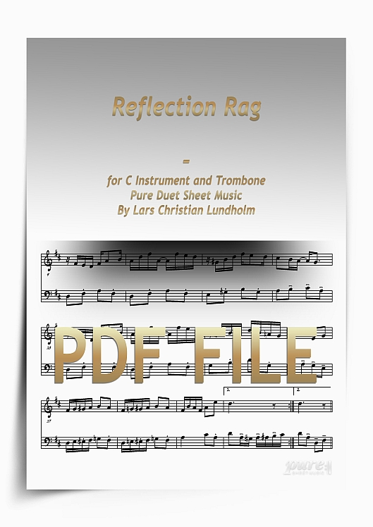 Thumbnail Reflection Rag for C Instrument and Trombone (PDF file), Pure Sheet Music arranged by Lars Christian Lundholm