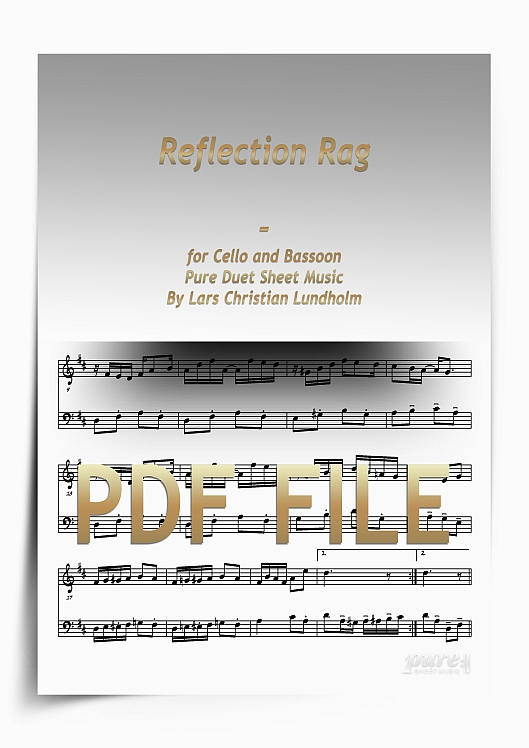Thumbnail Reflection Rag for Cello and Bassoon (PDF file), Pure Sheet Music arranged by Lars Christian Lundholm