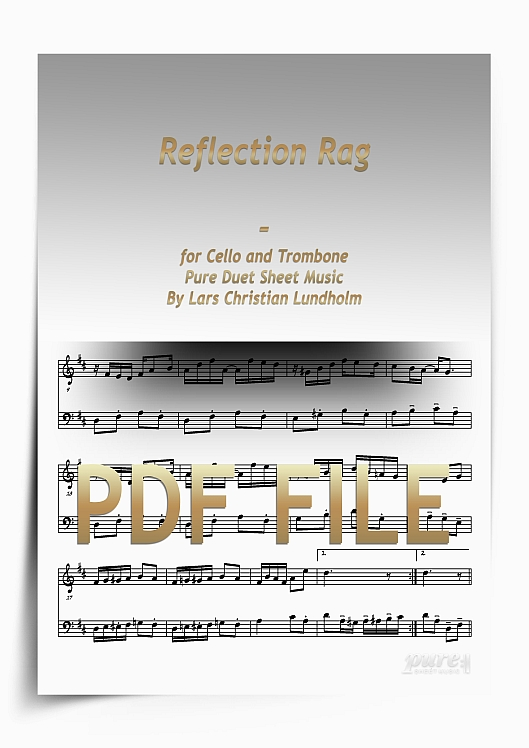 Thumbnail Reflection Rag for Cello and Trombone (PDF file), Pure Sheet Music arranged by Lars Christian Lundholm