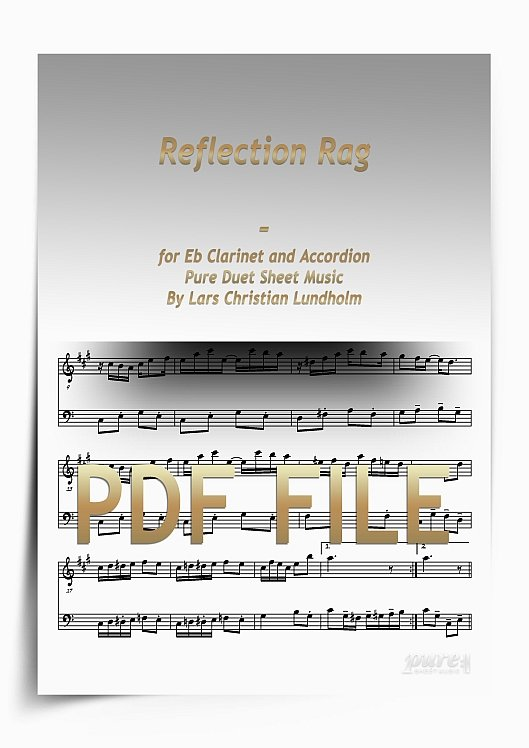 Thumbnail Reflection Rag for Eb Clarinet and Accordion (PDF file), Pure Sheet Music arranged by Lars Christian Lundholm