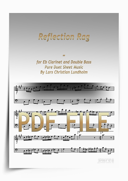 Thumbnail Reflection Rag for Eb Clarinet and Double Bass (PDF file), Pure Sheet Music arranged by Lars Christian Lundholm
