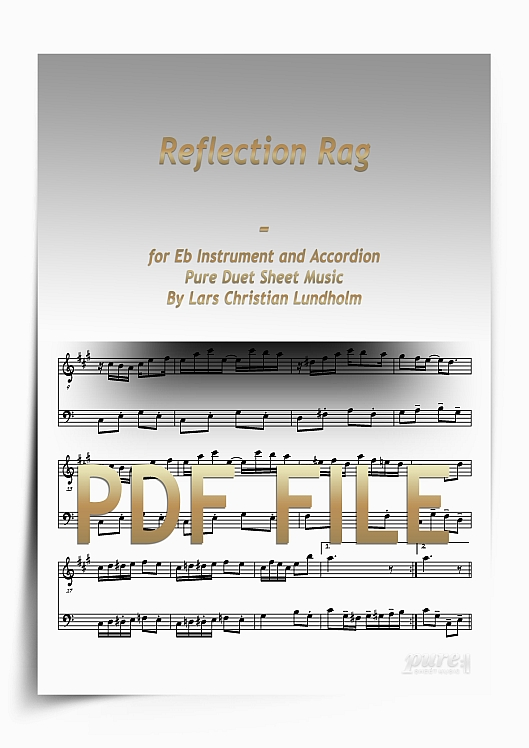 Thumbnail Reflection Rag for Eb Instrument and Accordion (PDF file), Pure Sheet Music arranged by Lars Christian Lundholm