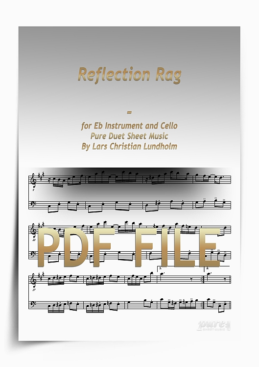 Thumbnail Reflection Rag for Eb Instrument and Cello (PDF file), Pure Sheet Music arranged by Lars Christian Lundholm