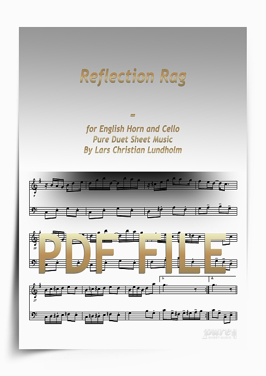 Thumbnail Reflection Rag for English Horn and Cello (PDF file), Pure Sheet Music arranged by Lars Christian Lundholm