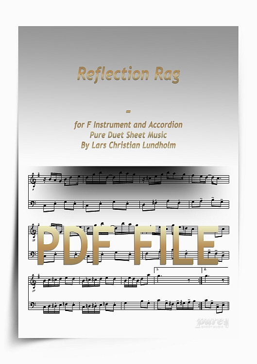 Thumbnail Reflection Rag for F Instrument and Accordion (PDF file), Pure Sheet Music arranged by Lars Christian Lundholm