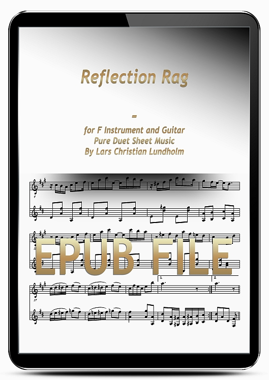 Thumbnail Reflection Rag for F Instrument and Guitar (EPUB file), Pure Sheet Music as Ebook arranged by Lars Christian Lundholm