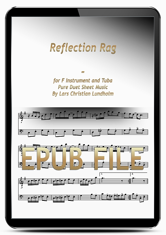 Thumbnail Reflection Rag for F Instrument and Tuba (EPUB file), Pure Sheet Music as Ebook arranged by Lars Christian Lundholm