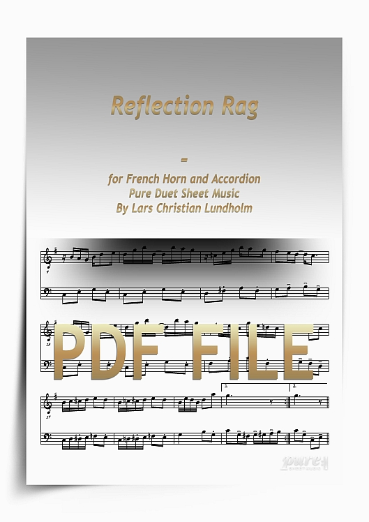 Thumbnail Reflection Rag for French Horn and Accordion (PDF file), Pure Sheet Music arranged by Lars Christian Lundholm