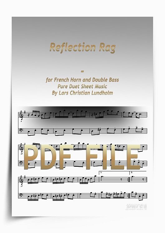Thumbnail Reflection Rag for French Horn and Double Bass (PDF file), Pure Sheet Music arranged by Lars Christian Lundholm