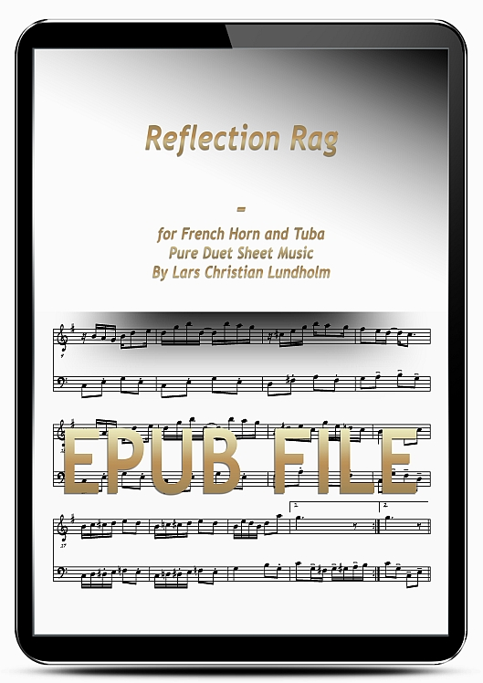 Thumbnail Reflection Rag for French Horn and Tuba (EPUB file), Pure Sheet Music as Ebook arranged by Lars Christian Lundholm