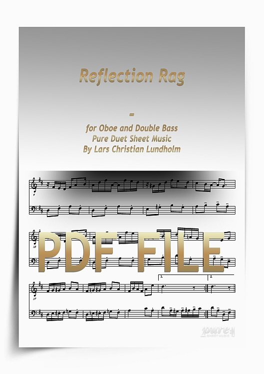 Thumbnail Reflection Rag for Oboe and Double Bass (PDF file), Pure Sheet Music arranged by Lars Christian Lundholm