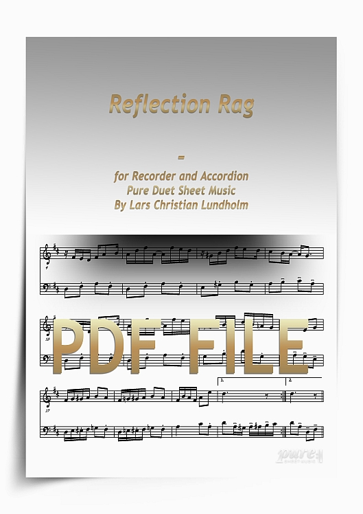 Thumbnail Reflection Rag for Recorder and Accordion (PDF file), Pure Sheet Music arranged by Lars Christian Lundholm