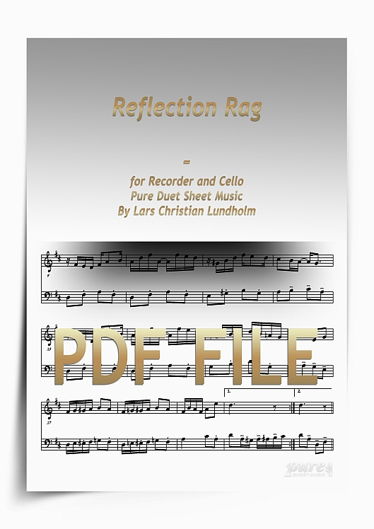 Thumbnail Reflection Rag for Recorder and Cello (PDF file), Pure Sheet Music arranged by Lars Christian Lundholm