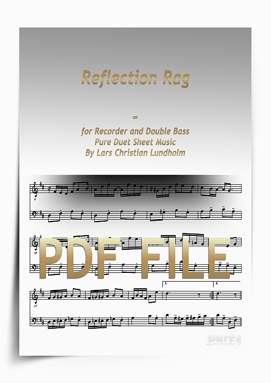 Thumbnail Reflection Rag for Recorder and Double Bass (PDF file), Pure Sheet Music arranged by Lars Christian Lundholm