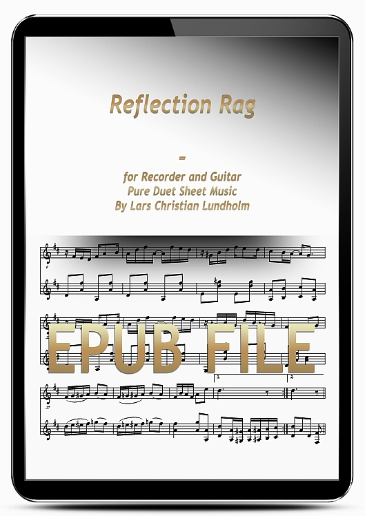 Thumbnail Reflection Rag for Recorder and Guitar (EPUB file), Pure Sheet Music as Ebook arranged by Lars Christian Lundholm