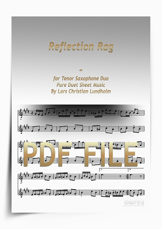 Thumbnail Reflection Rag for Tenor Saxophone Duo (PDF file), Pure Sheet Music arranged by Lars Christian Lundholm