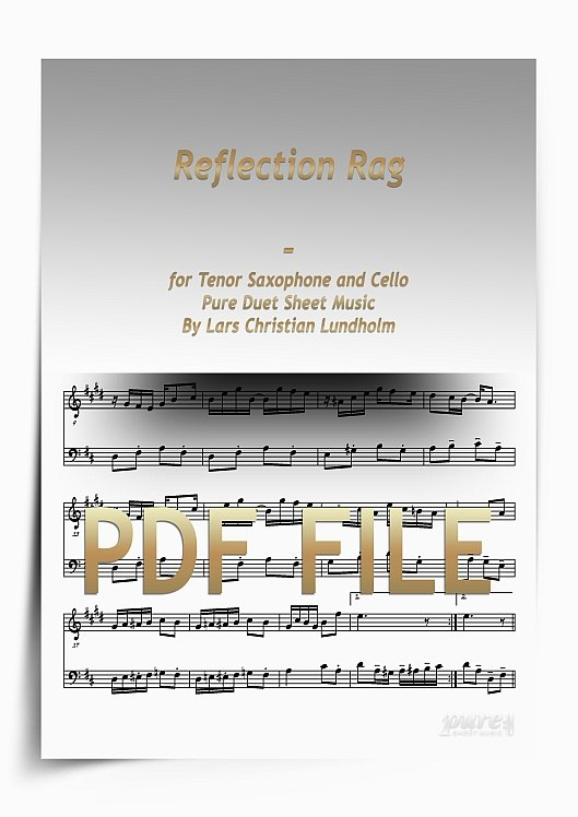 Thumbnail Reflection Rag for Tenor Saxophone and Cello (PDF file), Pure Sheet Music arranged by Lars Christian Lundholm