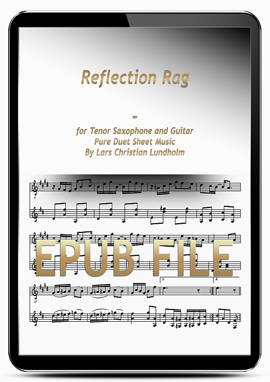 Thumbnail Reflection Rag for Tenor Saxophone and Guitar (EPUB file), Pure Sheet Music as Ebook arranged by Lars Christian Lundholm