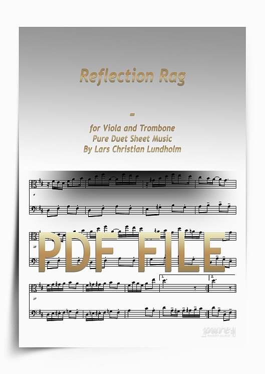Thumbnail Reflection Rag for Viola and Trombone (PDF file), Pure Sheet Music arranged by Lars Christian Lundholm