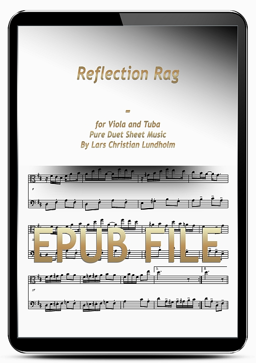 Thumbnail Reflection Rag for Viola and Tuba (EPUB file), Pure Sheet Music as Ebook arranged by Lars Christian Lundholm