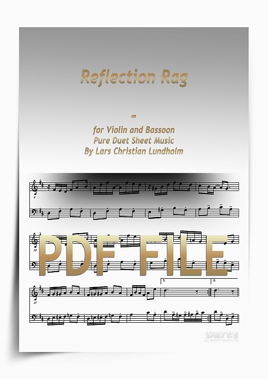 Thumbnail Reflection Rag for Violin and Bassoon (PDF file), Pure Sheet Music arranged by Lars Christian Lundholm
