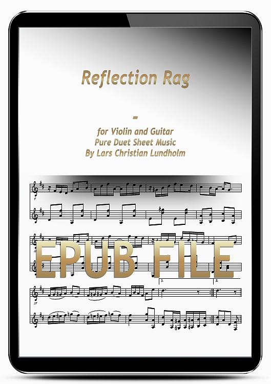 Thumbnail Reflection Rag for Violin and Guitar (EPUB file), Pure Sheet Music as Ebook arranged by Lars Christian Lundholm