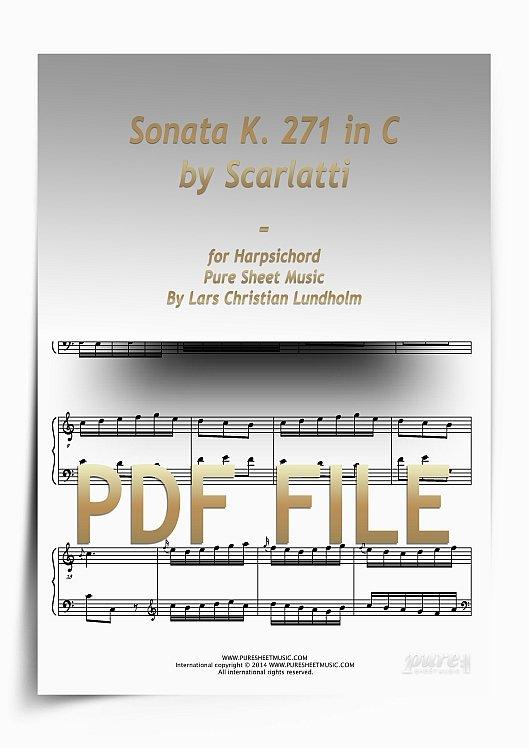Thumbnail Sonata K. 271 in C by Scarlatti for Harpsichord (PDF file), Pure Sheet Music arranged by Lars Christian Lundholm