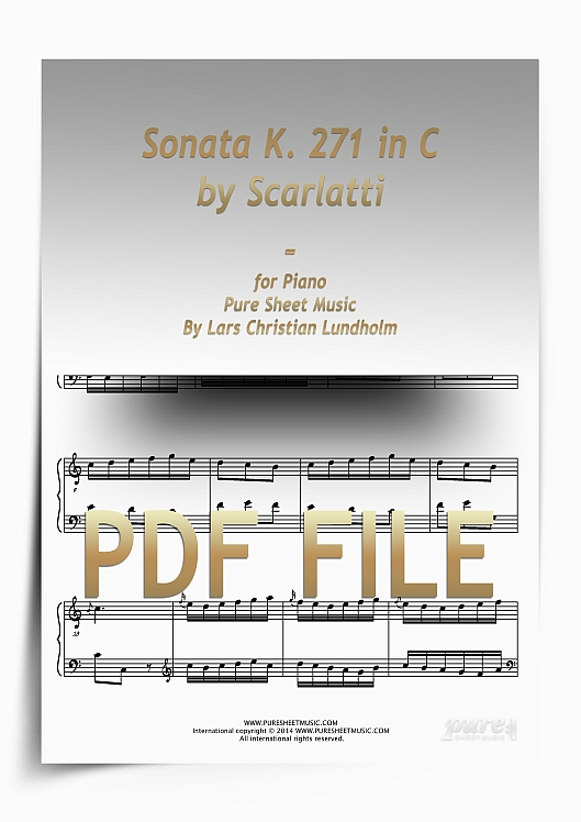 Thumbnail Sonata K. 271 in C by Scarlatti for Piano (PDF file), Pure Sheet Music arranged by Lars Christian Lundholm