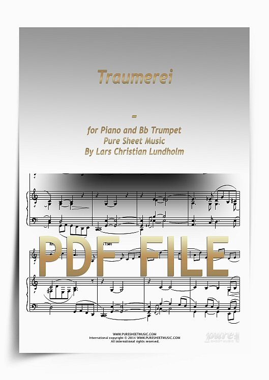 Thumbnail Traumerei for Piano and Bb Trumpet (PDF file), Pure Sheet Music arranged by Lars Christian Lundholm