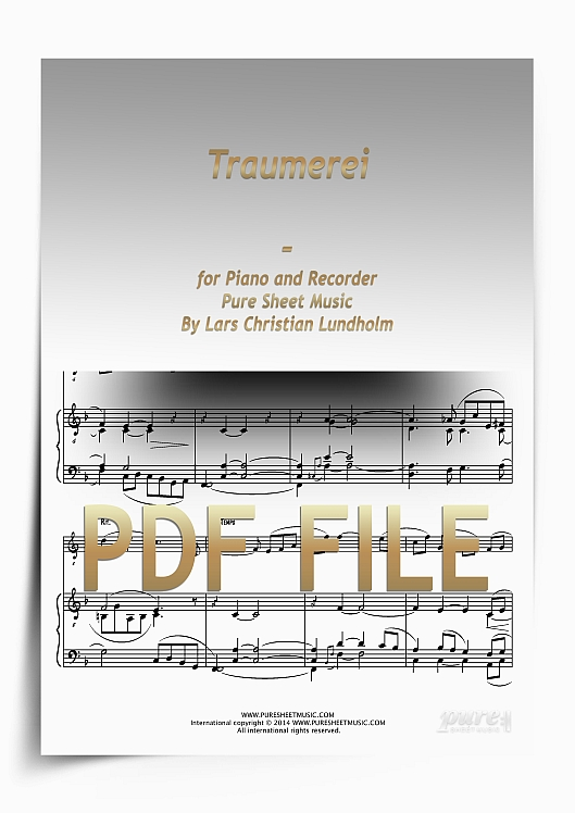 Thumbnail Traumerei for Piano and Recorder (PDF file), Pure Sheet Music arranged by Lars Christian Lundholm