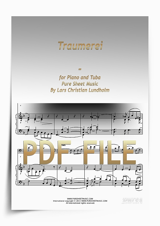 Thumbnail Traumerei for Piano and Tuba (PDF file), Pure Sheet Music arranged by Lars Christian Lundholm