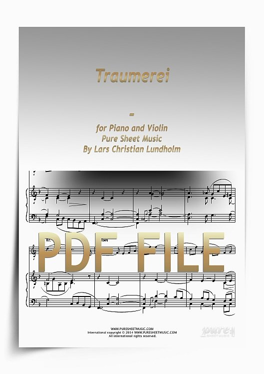 Thumbnail Traumerei for Piano and Violin (PDF file), Pure Sheet Music arranged by Lars Christian Lundholm