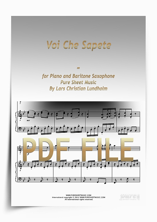 Thumbnail Voi Che Sapete for Piano and Baritone Saxophone (PDF file), Pure Sheet Music arranged by Lars Christian Lundholm