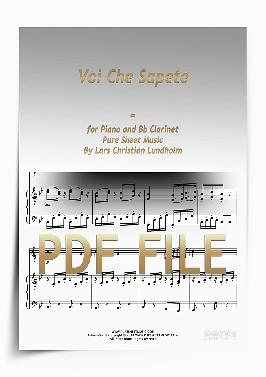 Thumbnail Voi Che Sapete for Piano and Bb Clarinet (PDF file), Pure Sheet Music arranged by Lars Christian Lundholm