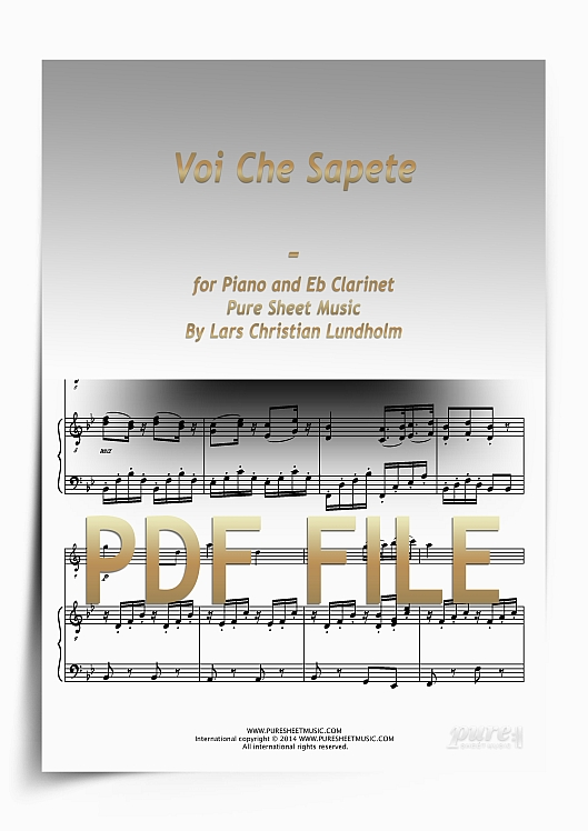 Thumbnail Voi Che Sapete for Piano and Eb Clarinet (PDF file), Pure Sheet Music arranged by Lars Christian Lundholm