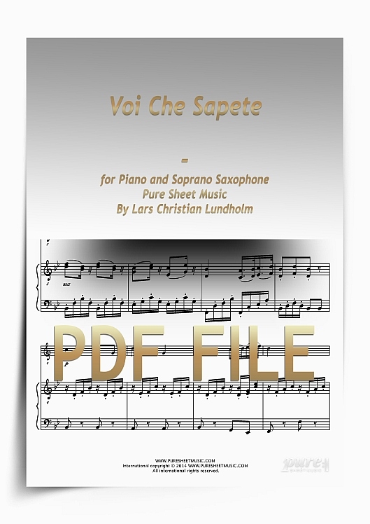Thumbnail Voi Che Sapete for Piano and Soprano Saxophone (PDF file), Pure Sheet Music arranged by Lars Christian Lundholm