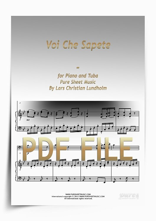 Thumbnail Voi Che Sapete for Piano and Tuba (PDF file), Pure Sheet Music arranged by Lars Christian Lundholm