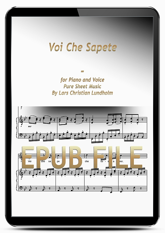 Thumbnail Voi Che Sapete for Piano and Voice (EPUB file), Pure Sheet Music as Ebook arranged by Lars Christian Lundholm