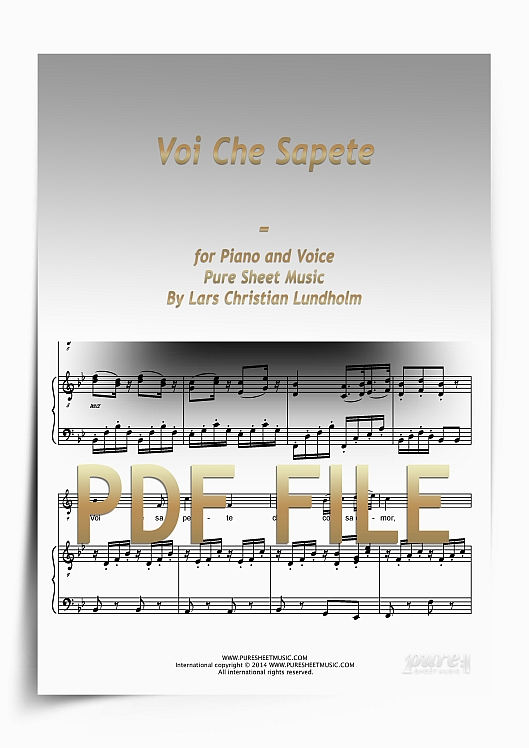 Thumbnail Voi Che Sapete for Piano and Voice (PDF file), Pure Sheet Music arranged by Lars Christian Lundholm