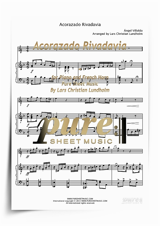 Pay for Acorazado Rivadavia for Piano and French Horn (PDF file), Pure Sheet Music arranged by Lars Christian Lundholm